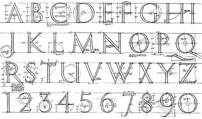 Roman Lettering From The Trajan Column Poster by English School