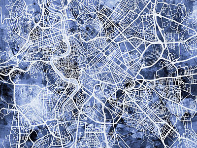 Rome Italy City Street Map Poster by Michael Tompsett