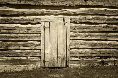 Rough Wood Door On Log Building Poster by Donald  Erickson