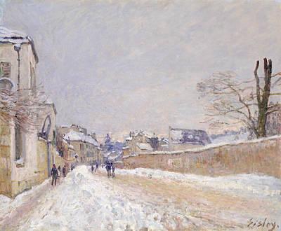 Rue Eugene Moussoir At Moret - Winter Poster by Alfred Sisley