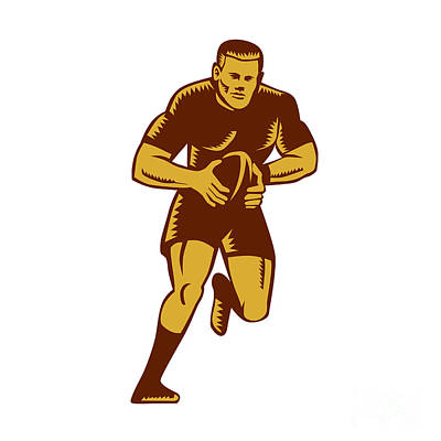 Rugby Player Running Ball Woodcut Poster