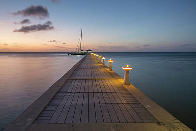 Poster featuring the photograph Rum Point Pier At Sunset by Adam Romanowicz