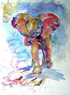 Running Elephant Baby Poster