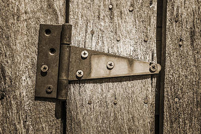 Rusty Hinge On Log Building Poster by Donald  Erickson