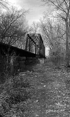 Rusty Railroad Trestle Bridge - Bw Poster by Scott D Van Osdol