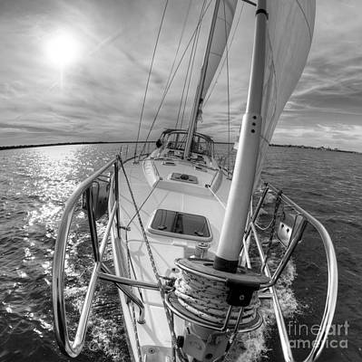 Sailing Yacht Fate Beneteau 49 Black And White Poster