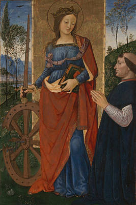 Saint Catherine Of Alexandria With A Donor Poster by Pintoricchio