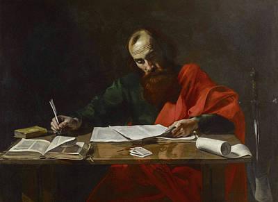 Saint Paul Writing His Epistles Poster by Valentin de Boulogne