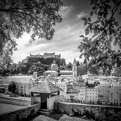 Salzburg Gorgeous Old Town With Citywall - Monochrome Poster by Melanie Viola