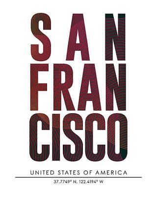 San Francisco City Print With Coordinates Poster