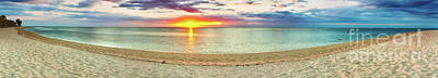 Sandy Beach At Sunset. Panorama  Poster by MotHaiBaPhoto Prints