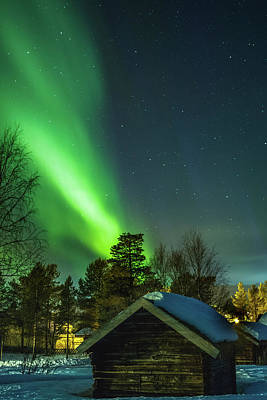 Sapmi Village Under The Northern Lights Karasjok Norway Poster