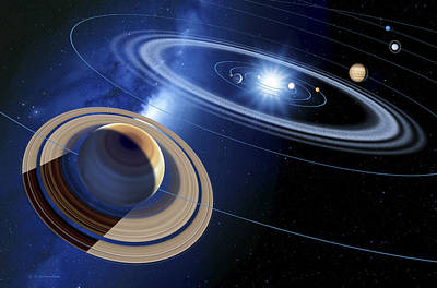 Saturn And Solar System Poster by Detlev Van Ravenswaay