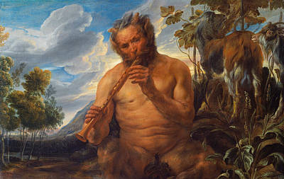 Satyr Playing The Pipe Poster by Jacob Jordaens