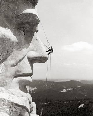 Scaling Mount Rushmore Poster by Granger