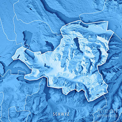 Schwyz Canton Switzerland 3d Render Topographic Map Blue Border Poster