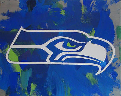 Poster featuring the painting Seahawks Fan by Candace Shrope