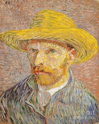 Self-portrait With A Straw Hat Poster by Vincent Willem van Gogh