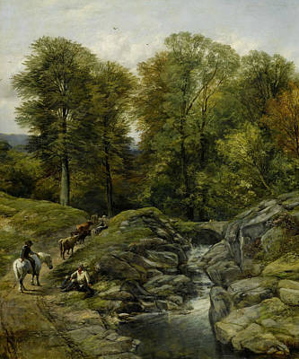 Shepherds Next To A Brook Poster by Thomas Creswick