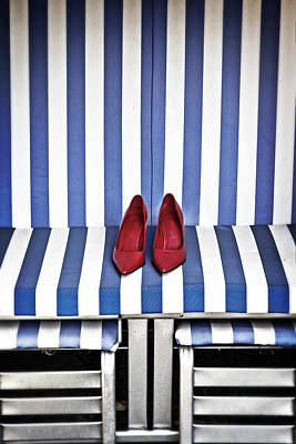 Shoes In A Beach Chair Poster