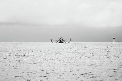 Shrimp Boat In The Pass Poster by Scott Pellegrin