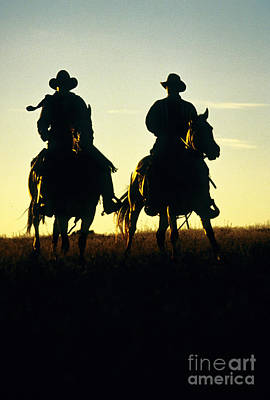 Silhouetted Cowboys Poster