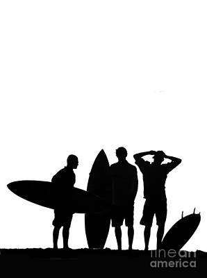 Silhouetted Surfers Poster