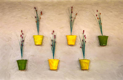 Six Flower Pots On The Wall Poster