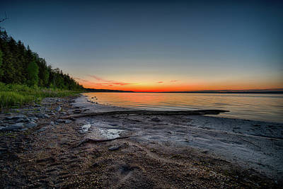 Poster featuring the photograph Skeleton Lake Beach At Sunset by Darcy Michaelchuk