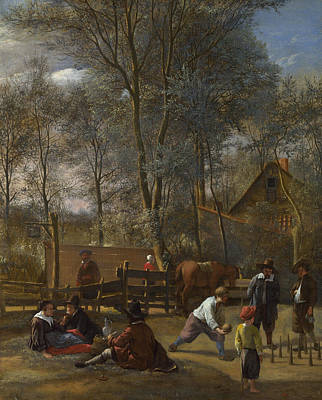 Skittle Players Outside An Inn Poster by Jan Steen