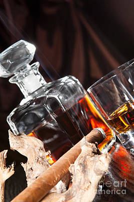 Smoking Cigar And Whiskey In Glass Poster