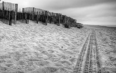 Poster featuring the photograph Snow Fence On The Beach by Chris Babcock