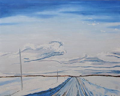 Snowy Road Ch Daniel Lapatrie Quebec Canada Poster