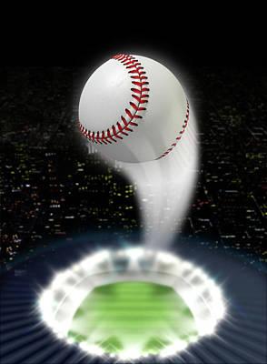 Stadium Night With Ball Swoosh Poster