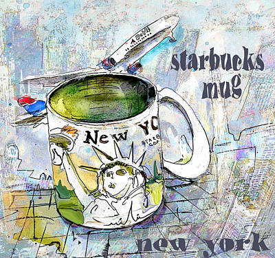 Starbucks Mug New York Poster by Miki De Goodaboom