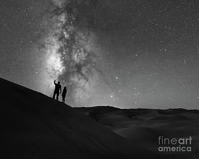 Stargazers Under The Night Sky Poster