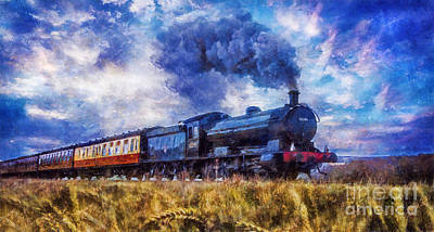 Poster featuring the digital art Steam Train by Ian Mitchell