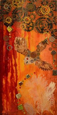 Steampunk Owl Red Horizon Poster