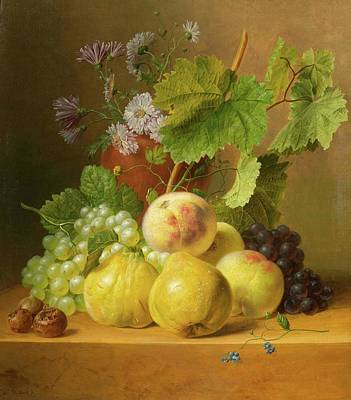 Still Life Of Fruits With Quinces And Peaches On A Stone Plinth Poster by Willem