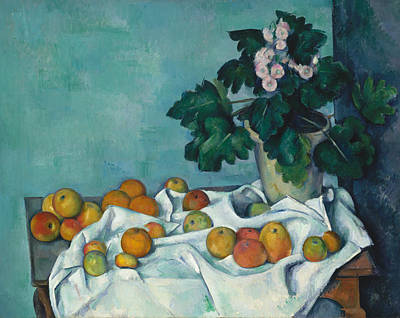 Still Life With Apples And A Pot Of Primroses Poster by Paul Cezanne
