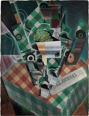 Still Life With Checked Tablecloth Poster by Juan Gris
