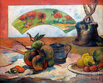 Still-life With Fan, Nature Morte A L'eventail, By Paul Gauguin, Poster