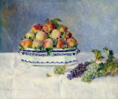 Still Life With Peaches And Grapes Poster