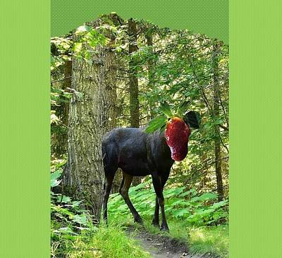 Strawberry Moose Head Poster by Lj White