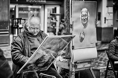 Street Artist In Montmartre Poster by Pablo Lopez