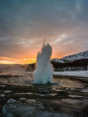 Strokkur Winter Blowup In Front Of Sunset Poster