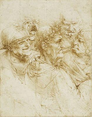 Study Of Five Grotesque Heads Poster by Leonardo da Vinci