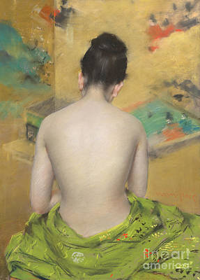 Study Of Flesh Color And Gold Poster by William Merritt Chase
