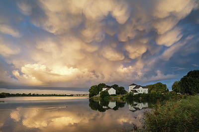 Stunning Dramatic Mammatus Clouds Formation Over Lake Landscape  Poster by Matthew Gibson