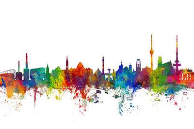Stuttgart Germany Skyline Poster by Michael Tompsett